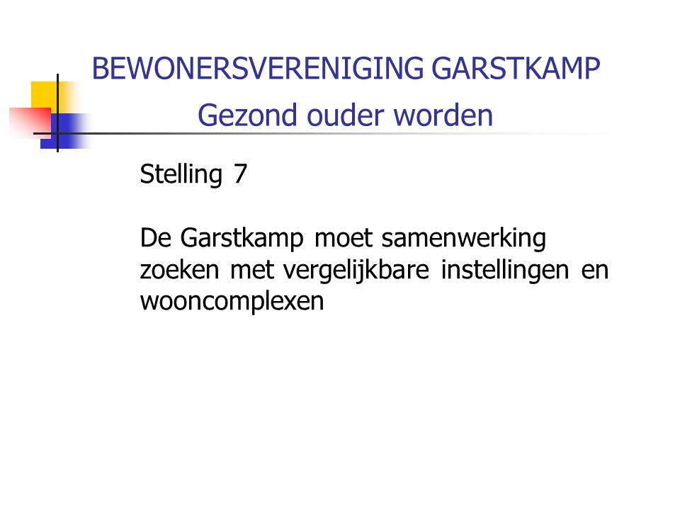 BEWONERSVERENIGING GARSTKAMP Gezond ouder worden Stelling 7 De Garstkamp moet samenwerking zoeken met vergelijkbare instellingen en wooncomplexen