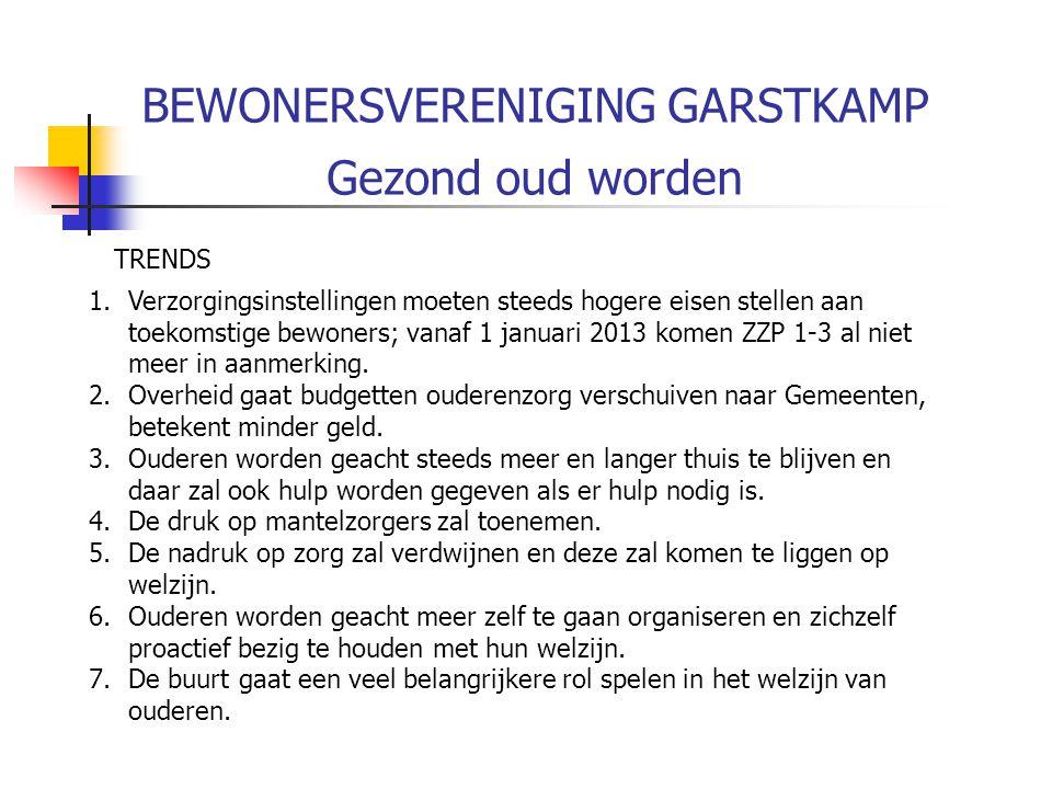 BEWONERSVERENIGING GARSTKAMP Gezond ouder worden Stelling 8 De Garstkamp moet contact zoeken met de Gemeente om te zien of wij iets kunnen betekenen in het idee over woonservicewijken