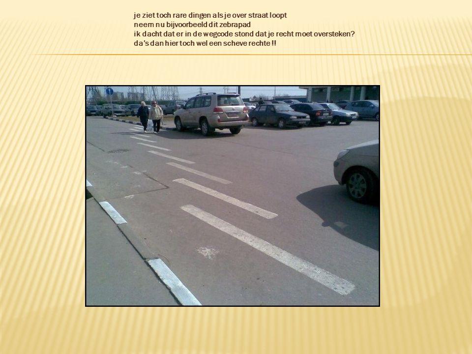 je ziet toch rare dingen als je over straat loopt neem nu bijvoorbeeld dit zebrapad ik dacht dat er in de wegcode stond dat je recht moet oversteken.