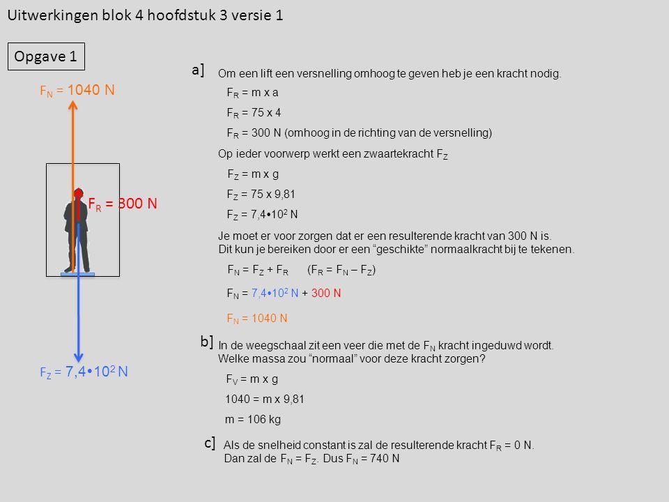 Uitwerkingen blok 4 hoofdstuk 3 versie 1 Om een lift een versnelling omhoog te geven heb je een kracht nodig.