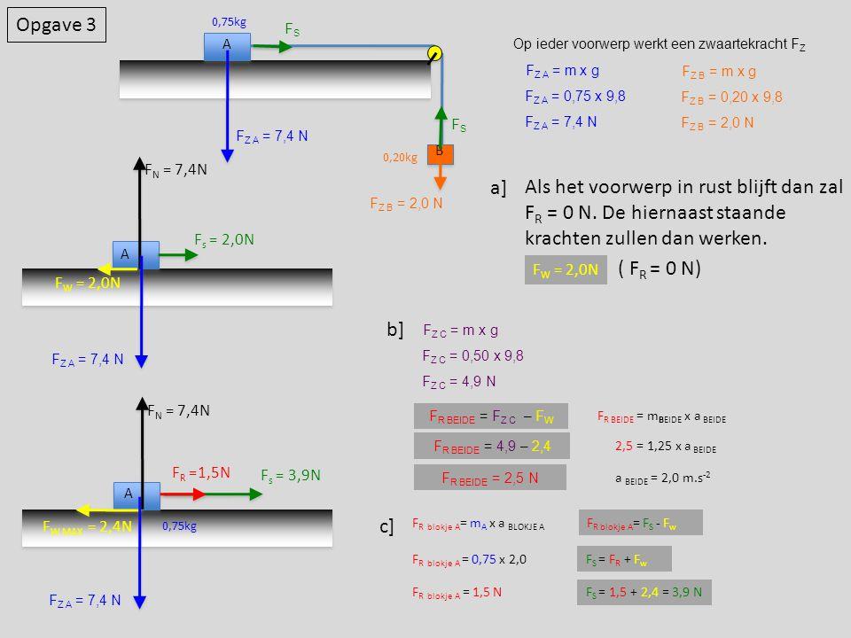 Opgave 3 A B 0,75kg 0,20kg Op ieder voorwerp werkt een zwaartekracht F Z F Z A = m x g F Z A = 0,75 x 9,8 F Z A = 7,4 N F Z B = m x g F Z B = 0,20 x 9,8 F Z B = 2,0 N A F s = 2,0N F N = 7,4N F W = 2,0N Als het voorwerp in rust blijft dan zal F R = 0 N.