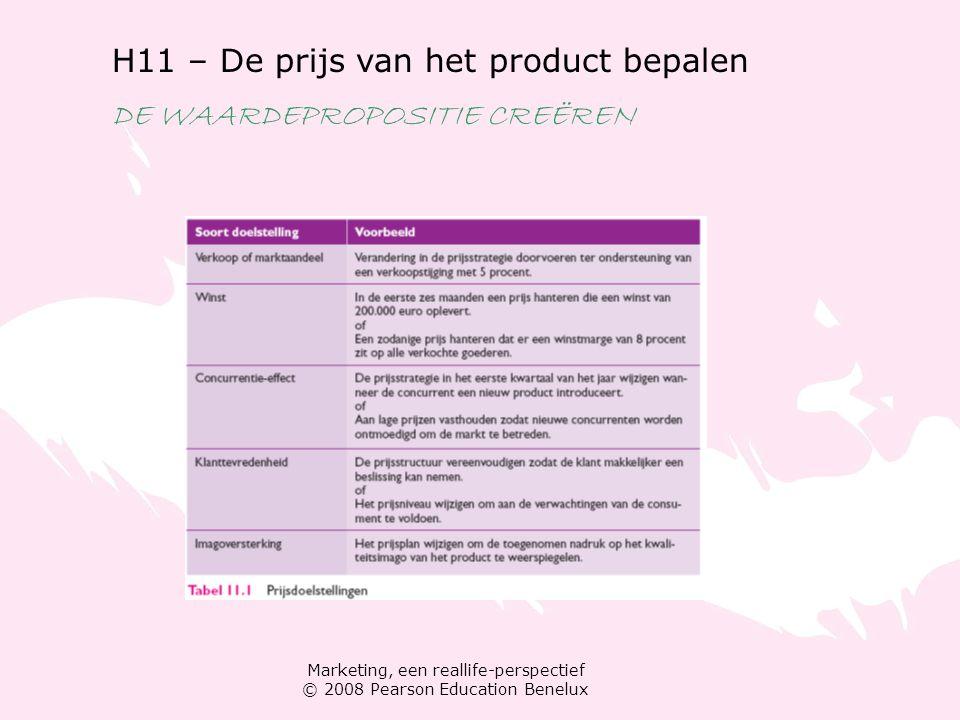 Marketing, een reallife-perspectief © 2008 Pearson Education Benelux H11 – De prijs van het product bepalen DE WAARDEPROPOSITIE CREËREN Stap 2: een schatting van de vraag maken Vraagcurven verschuivingen in de vraag vraag schatten Prijselasticiteit van de vraag