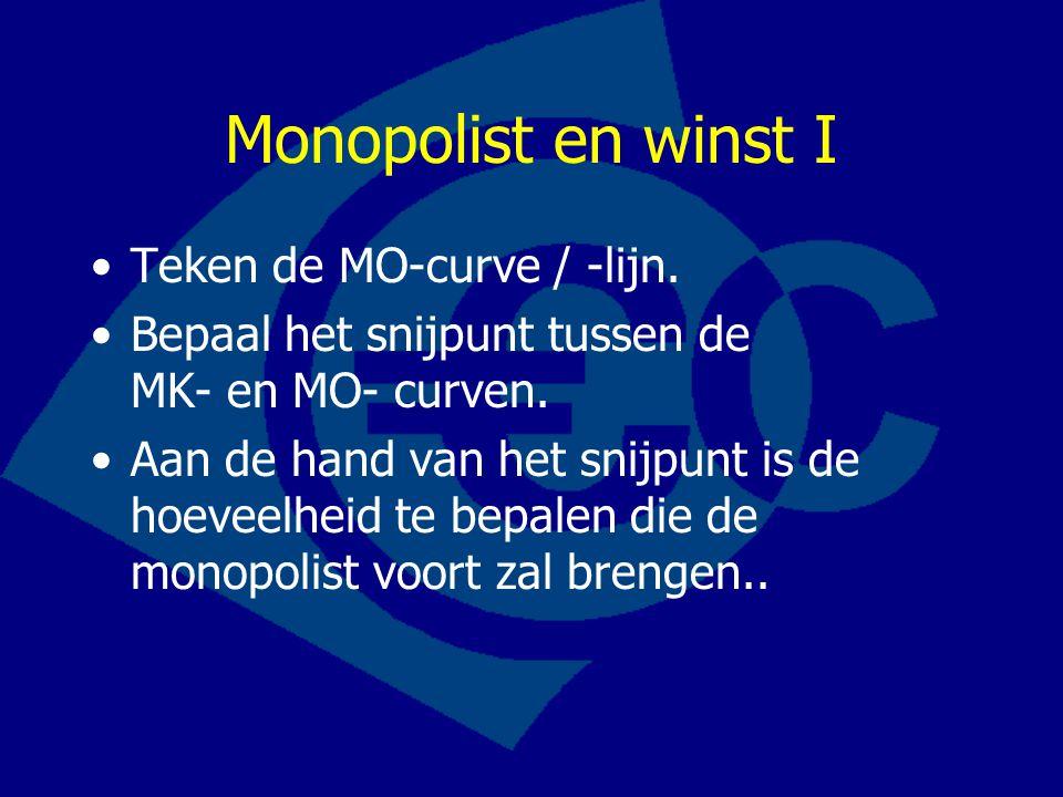 Monopolist en winst I Teken de MO-curve / -lijn. Bepaal het snijpunt tussen de MK- en MO- curven. Aan de hand van het snijpunt is de hoeveelheid te be