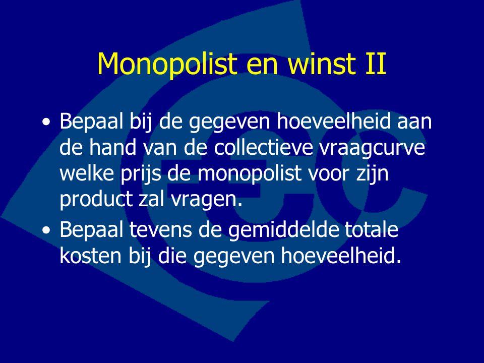 Monopolist en winst II Bepaal bij de gegeven hoeveelheid aan de hand van de collectieve vraagcurve welke prijs de monopolist voor zijn product zal vra