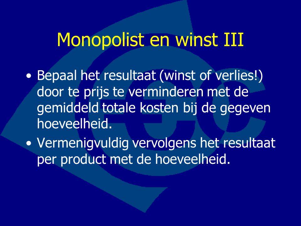 Monopolist en winst III Bepaal het resultaat (winst of verlies!) door te prijs te verminderen met de gemiddeld totale kosten bij de gegeven hoeveelhei