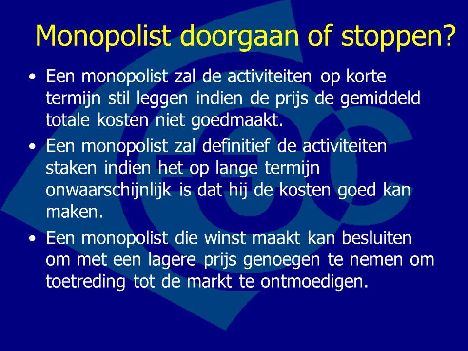 Monopolist doorgaan of stoppen? Een monopolist zal de activiteiten op korte termijn stil leggen indien de prijs de gemiddeld totale kosten niet goedma