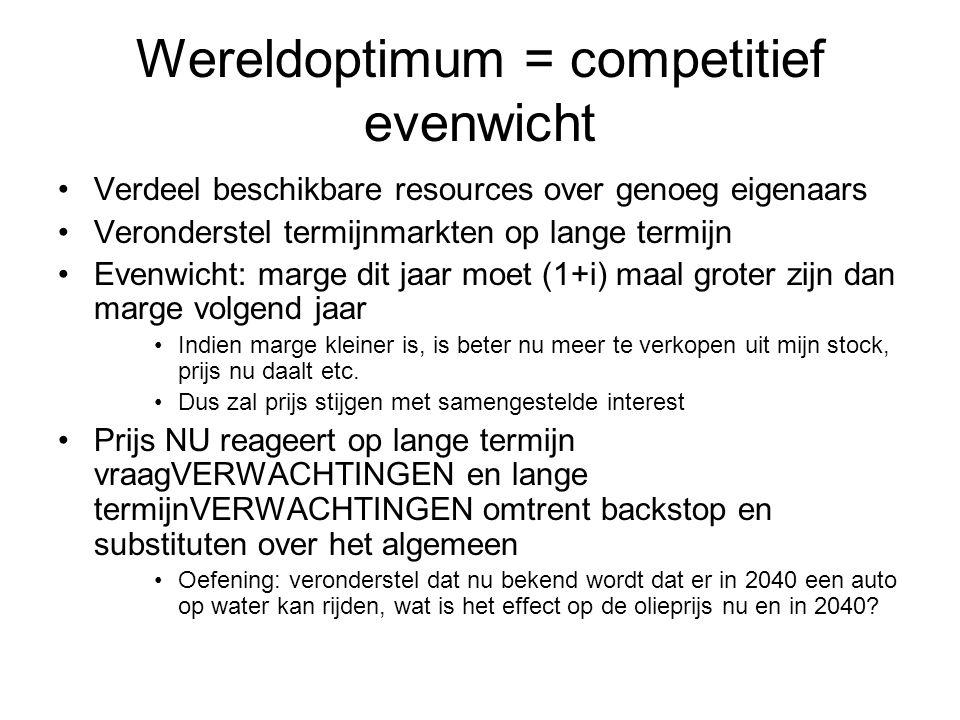 Wereldoptimum = competitief evenwicht Verdeel beschikbare resources over genoeg eigenaars Veronderstel termijnmarkten op lange termijn Evenwicht: marg