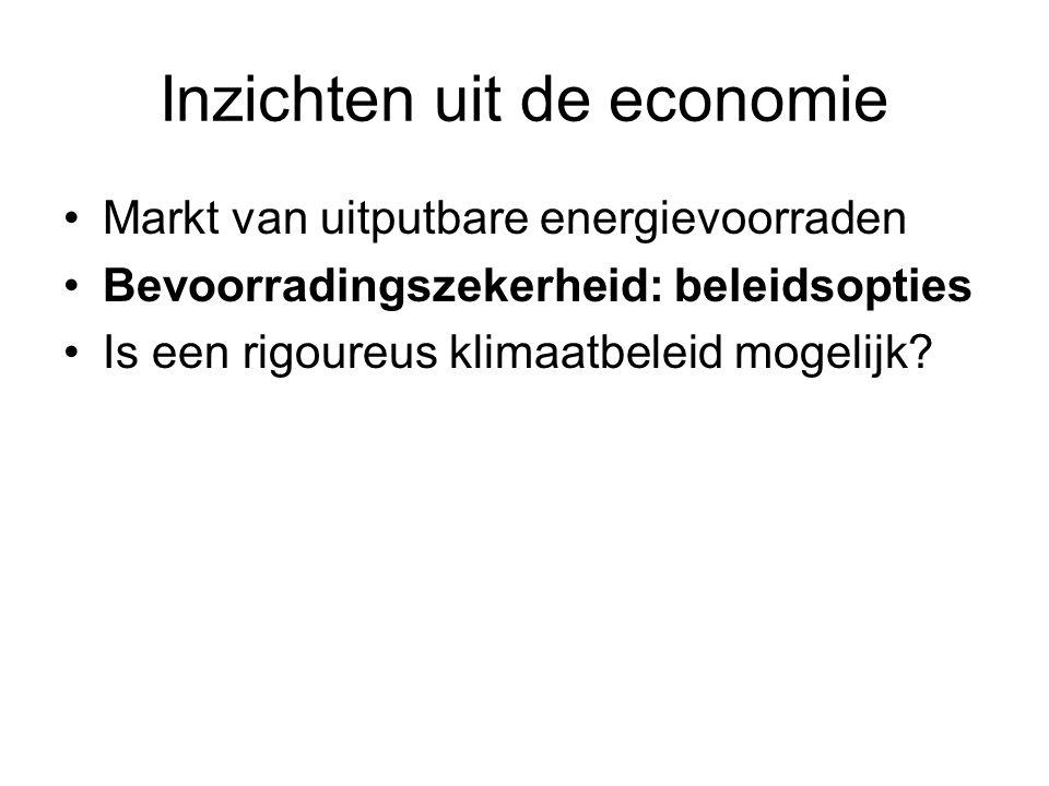 Inzichten uit de economie Markt van uitputbare energievoorraden Bevoorradingszekerheid: beleidsopties Is een rigoureus klimaatbeleid mogelijk?