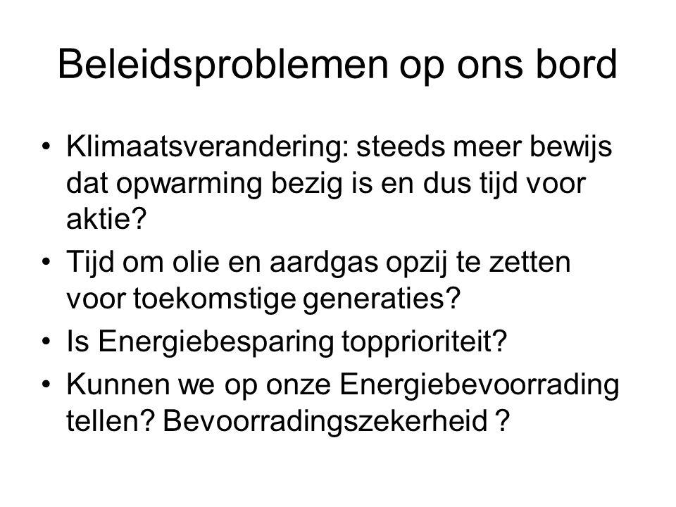 Bevoorradingszekerheid 4 Resources zijn binnenkort uitgeput, dus laat ons nu wat besparen Belangrijke leverancier kan dreigen met leveringsonderbrekingen Fysische onderbrekingen (transportlijnen etc) Aardgas Elektriciteit Hoogspanningsnet: integratie met buitenland nodig en nuttig –Nodig: NIMBY voor nieuwe centrales –Nuttig: sommige landen hebben teveel Hernieuwbaar –EU is traag in realisatie