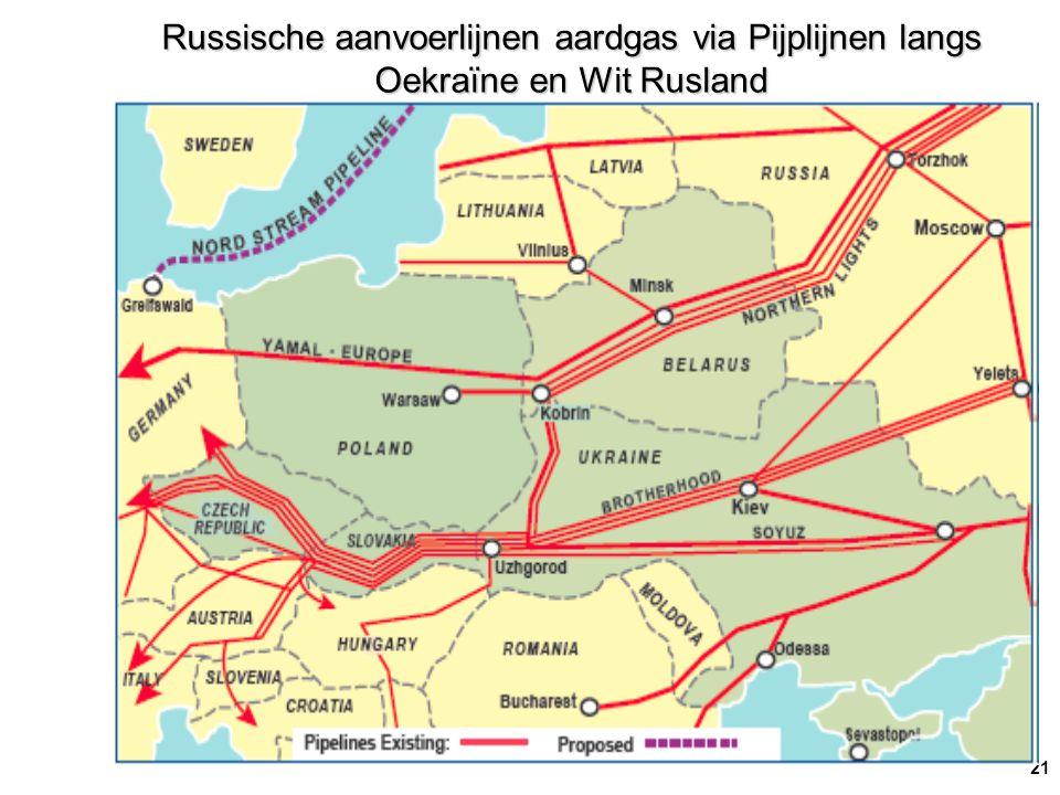21 Russische aanvoerlijnen aardgas via Pijplijnen langs Oekraïne en Wit Rusland