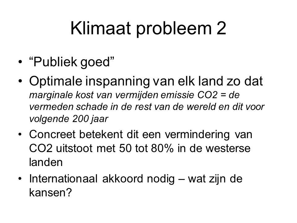 """Klimaat probleem 2 """"Publiek goed"""" Optimale inspanning van elk land zo dat marginale kost van vermijden emissie CO2 = de vermeden schade in de rest van"""