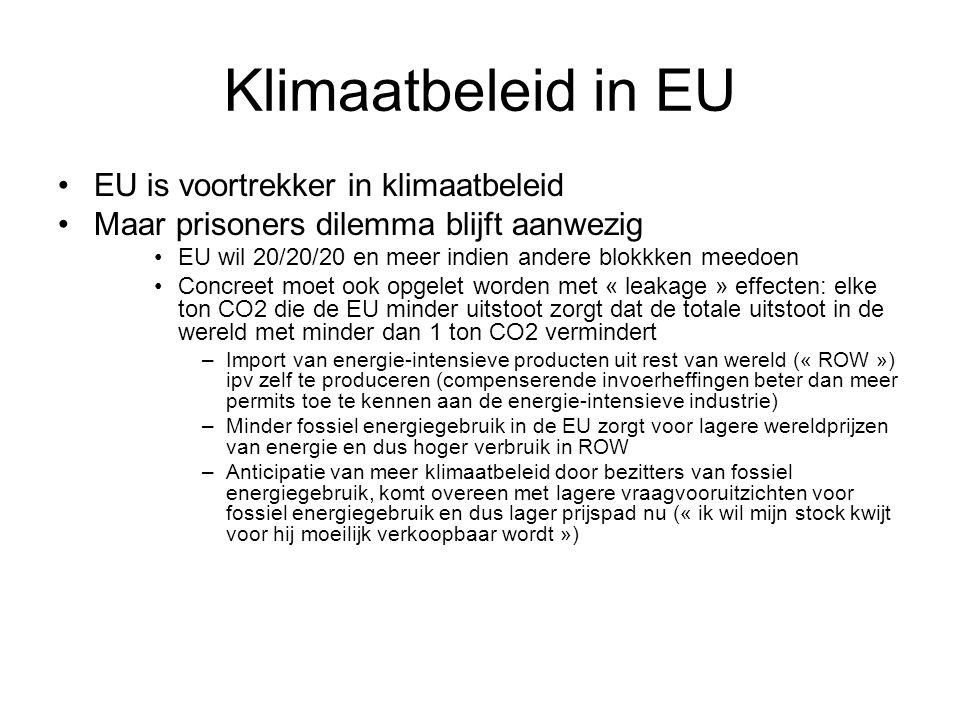 Klimaatbeleid in EU EU is voortrekker in klimaatbeleid Maar prisoners dilemma blijft aanwezig EU wil 20/20/20 en meer indien andere blokkken meedoen C