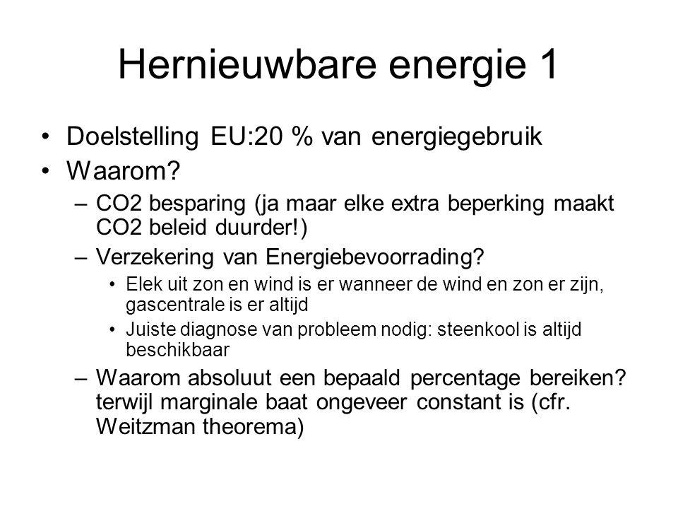 Hernieuwbare energie 1 Doelstelling EU:20 % van energiegebruik Waarom? –CO2 besparing (ja maar elke extra beperking maakt CO2 beleid duurder!) –Verzek