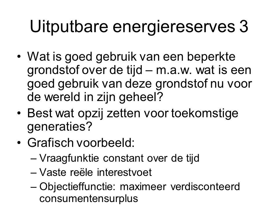 Uitputbare energiereserves 3 Wat is goed gebruik van een beperkte grondstof over de tijd – m.a.w. wat is een goed gebruik van deze grondstof nu voor d