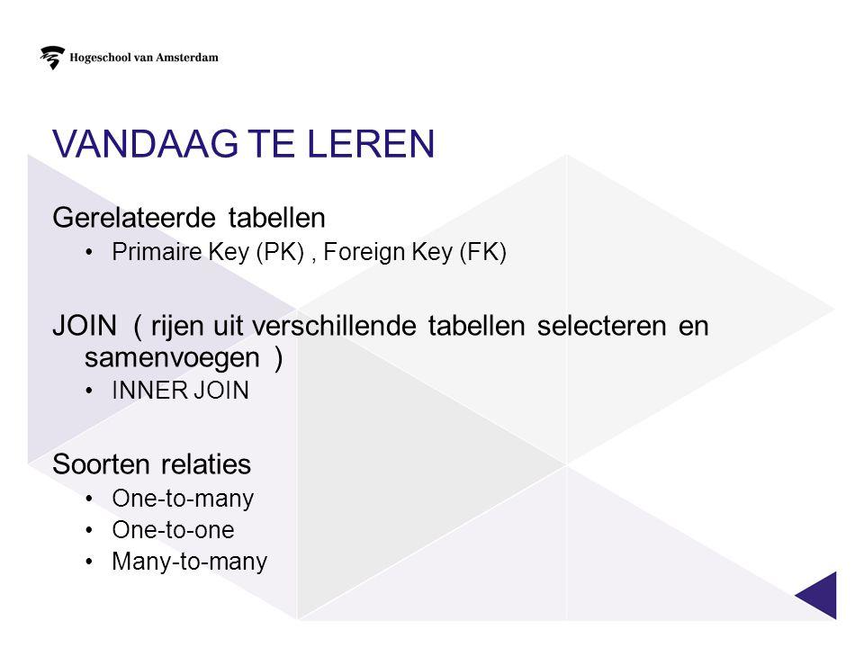VANDAAG TE LEREN Gerelateerde tabellen Primaire Key (PK), Foreign Key (FK) JOIN ( rijen uit verschillende tabellen selecteren en samenvoegen ) INNER J