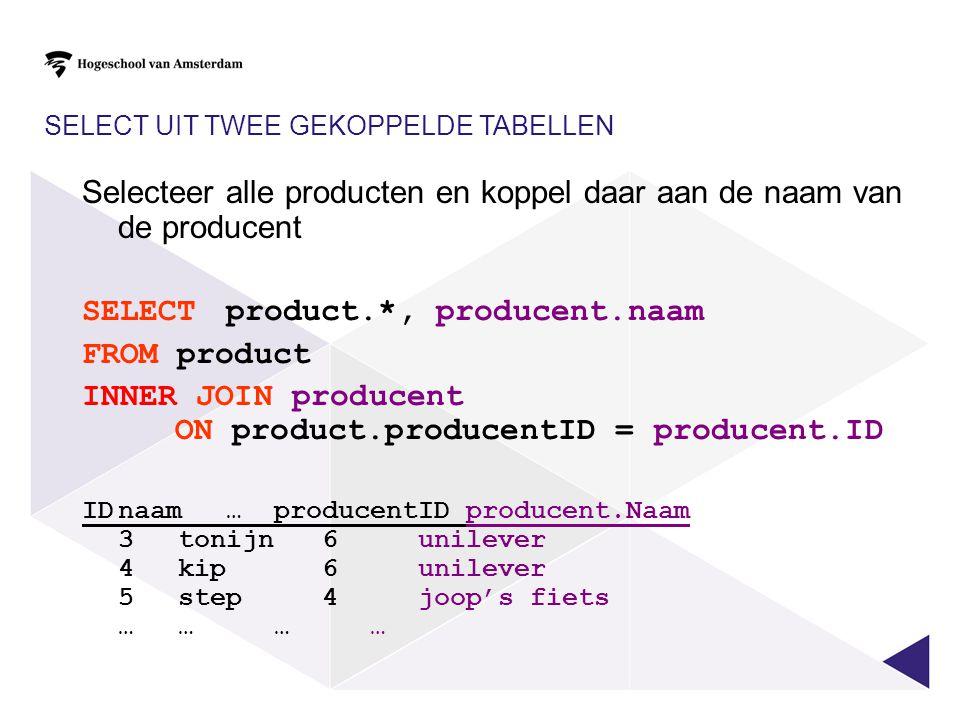 SELECT UIT TWEE GEKOPPELDE TABELLEN Selecteer alle producten en koppel daar aan de naam van de producent SELECT product.*, producent.naam FROM product
