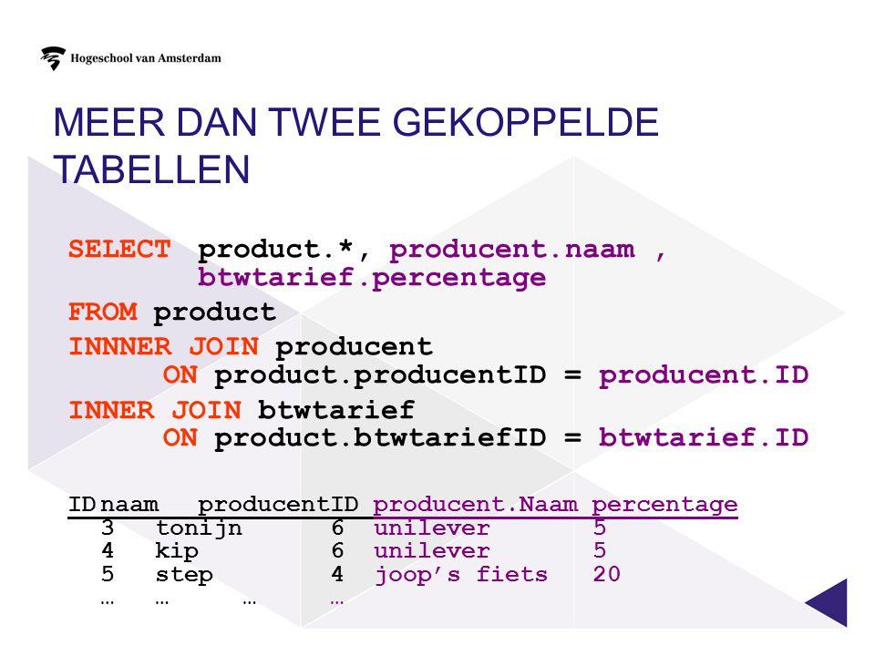 MEER DAN TWEE GEKOPPELDE TABELLEN SELECT product.*, producent.naam, btwtarief.percentage FROM product INNNER JOIN producent ON product.producentID = p