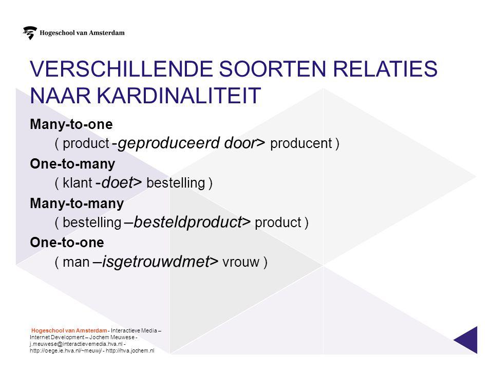 VERSCHILLENDE SOORTEN RELATIES NAAR KARDINALITEIT Many-to-one ( product -geproduceerd door> producent ) One-to-many ( klant -doet> bestelling ) Many-t