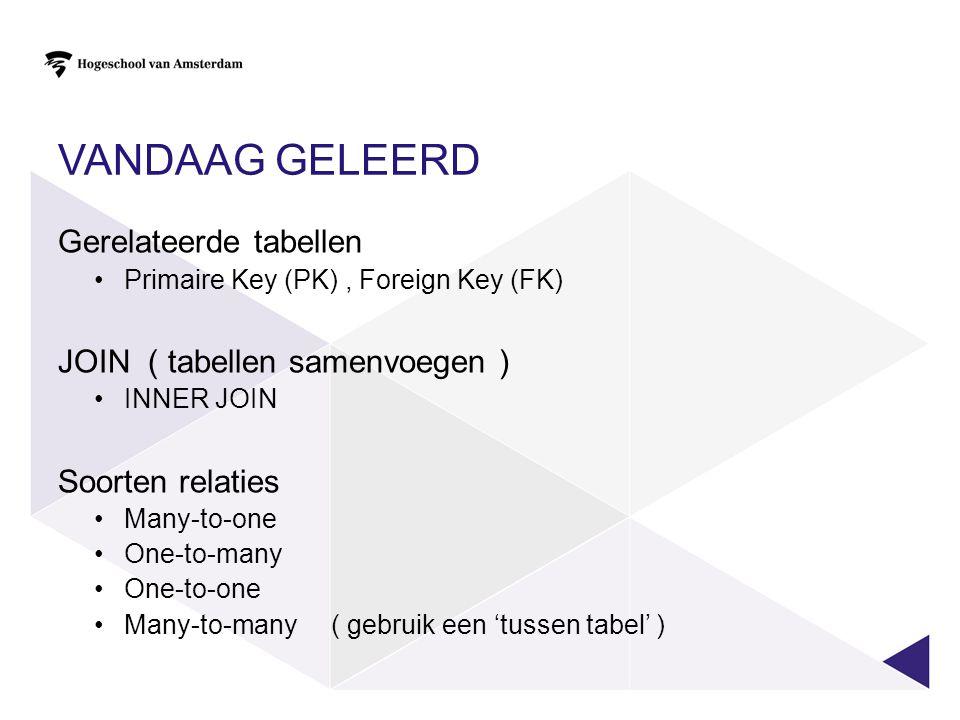 VANDAAG GELEERD Gerelateerde tabellen Primaire Key (PK), Foreign Key (FK) JOIN ( tabellen samenvoegen ) INNER JOIN Soorten relaties Many-to-one One-to