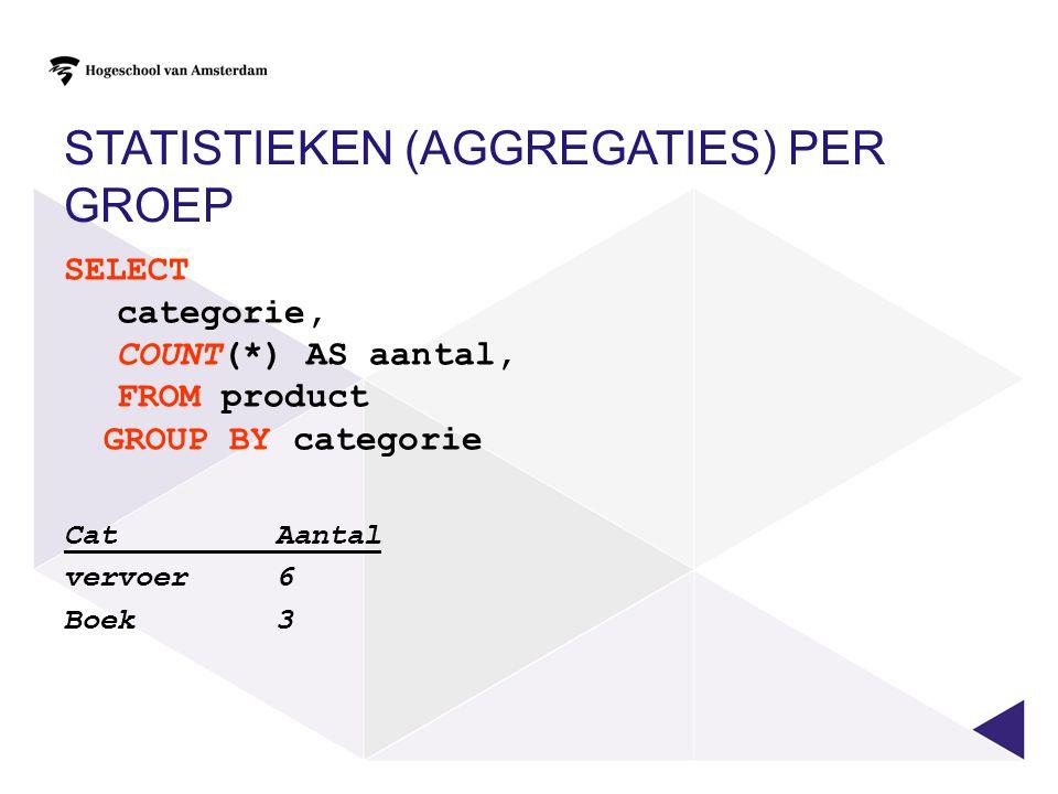 STATISTIEKEN (AGGREGATIES) PER GROEP SELECT categorie, COUNT(*) AS aantal, FROM product GROUP BY categorie Cat Aantal vervoer 6 Boek 3