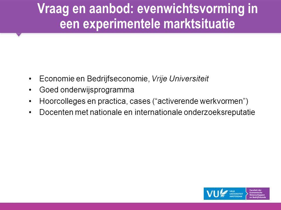 13 Vraag en aanbod: evenwichtsvorming in een experimentele marktsituatie Economie en Bedrijfseconomie, Vrije Universiteit Goed onderwijsprogramma Hoor