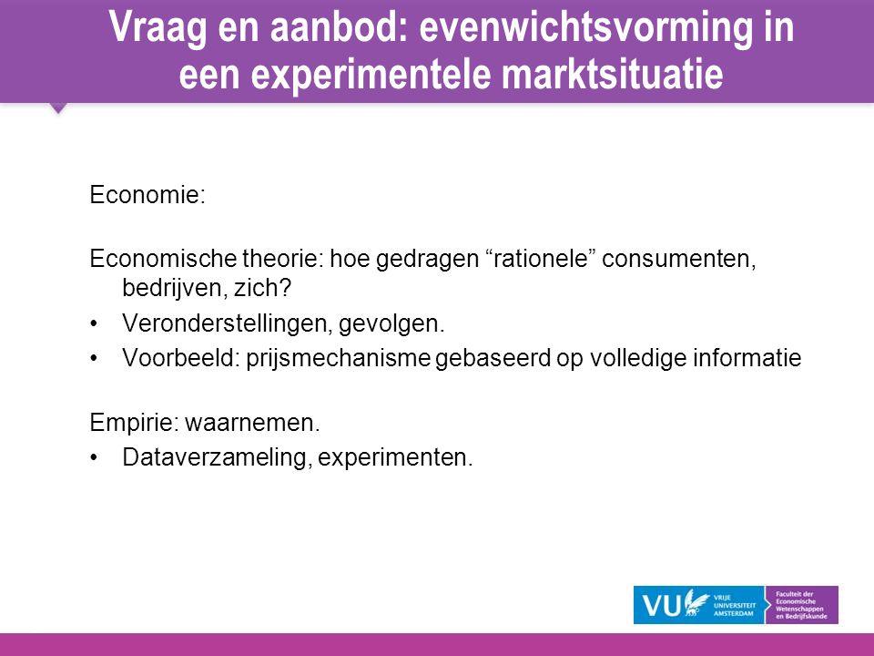 """3 Vraag en aanbod: evenwichtsvorming in een experimentele marktsituatie Economie: Economische theorie: hoe gedragen """"rationele"""" consumenten, bedrijven"""
