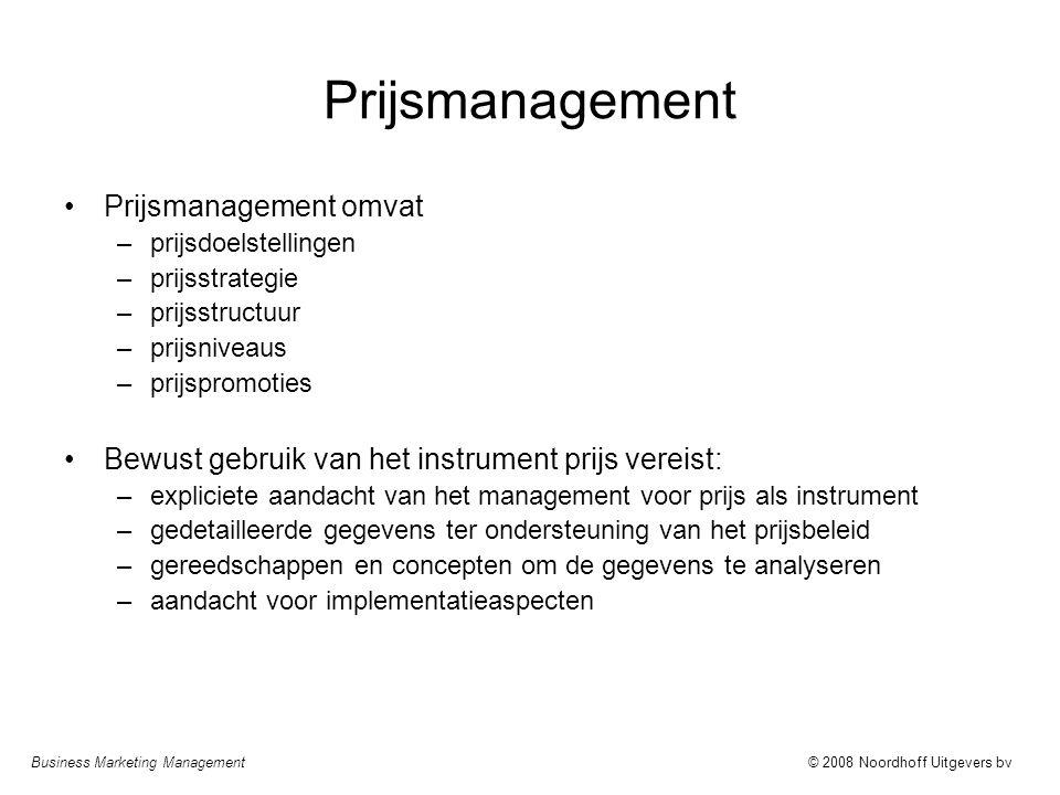 Business Marketing Management© 2008 Noordhoff Uitgevers bv Prijsmanagement Prijsmanagement omvat –prijsdoelstellingen –prijsstrategie –prijsstructuur