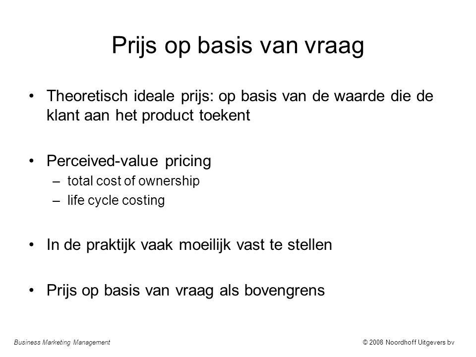 Business Marketing Management© 2008 Noordhoff Uitgevers bv Prijs op basis van vraag Theoretisch ideale prijs: op basis van de waarde die de klant aan