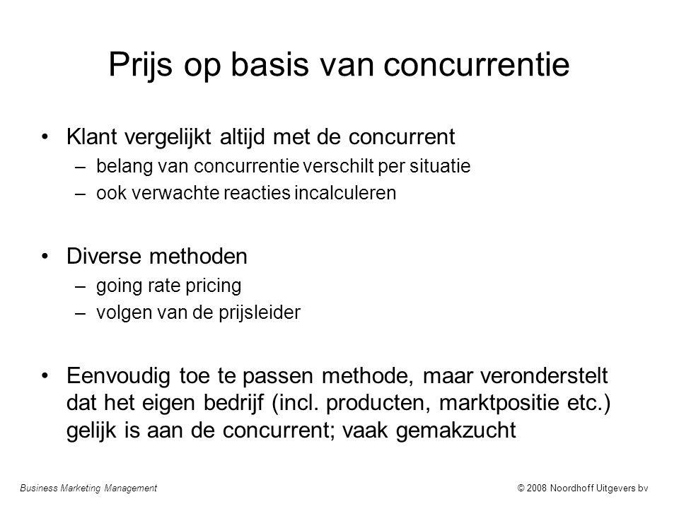Business Marketing Management© 2008 Noordhoff Uitgevers bv Prijs op basis van concurrentie Klant vergelijkt altijd met de concurrent –belang van concu
