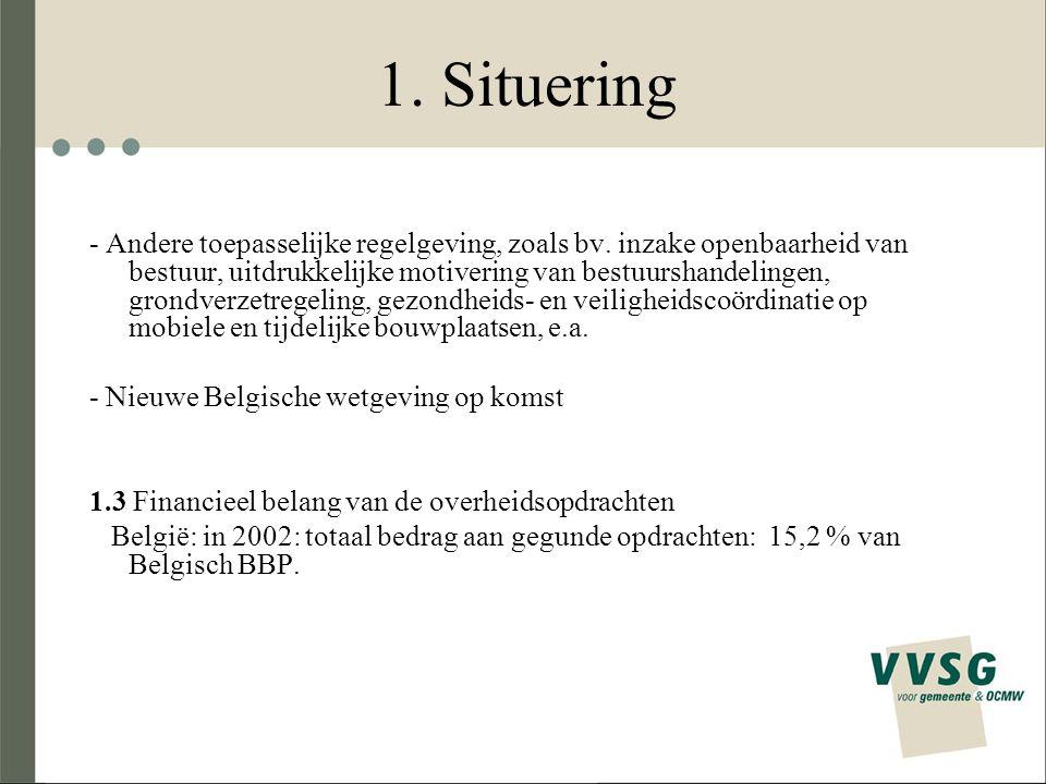 1. Situering - Andere toepasselijke regelgeving, zoals bv. inzake openbaarheid van bestuur, uitdrukkelijke motivering van bestuurshandelingen, grondve