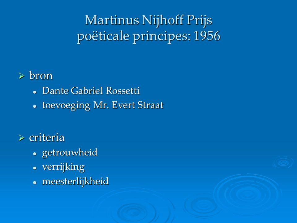 Martinus Nijhoff Prijs poëticale principes: 1956  bron Dante Gabriel Rossetti Dante Gabriel Rossetti toevoeging Mr. Evert Straat toevoeging Mr. Evert