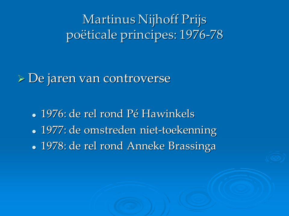 Martinus Nijhoff Prijs poëticale principes: 1976-78  De jaren van controverse 1976: de rel rond Pé Hawinkels 1976: de rel rond Pé Hawinkels 1977: de