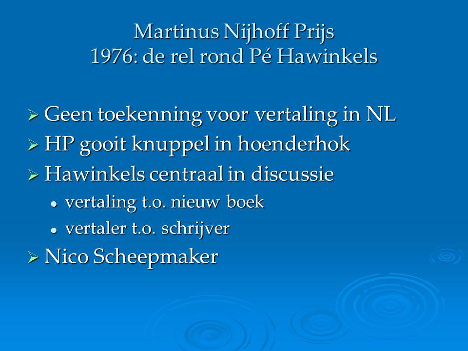 Martinus Nijhoff Prijs 1976: de rel rond Pé Hawinkels  Geen toekenning voor vertaling in NL  HP gooit knuppel in hoenderhok  Hawinkels centraal in