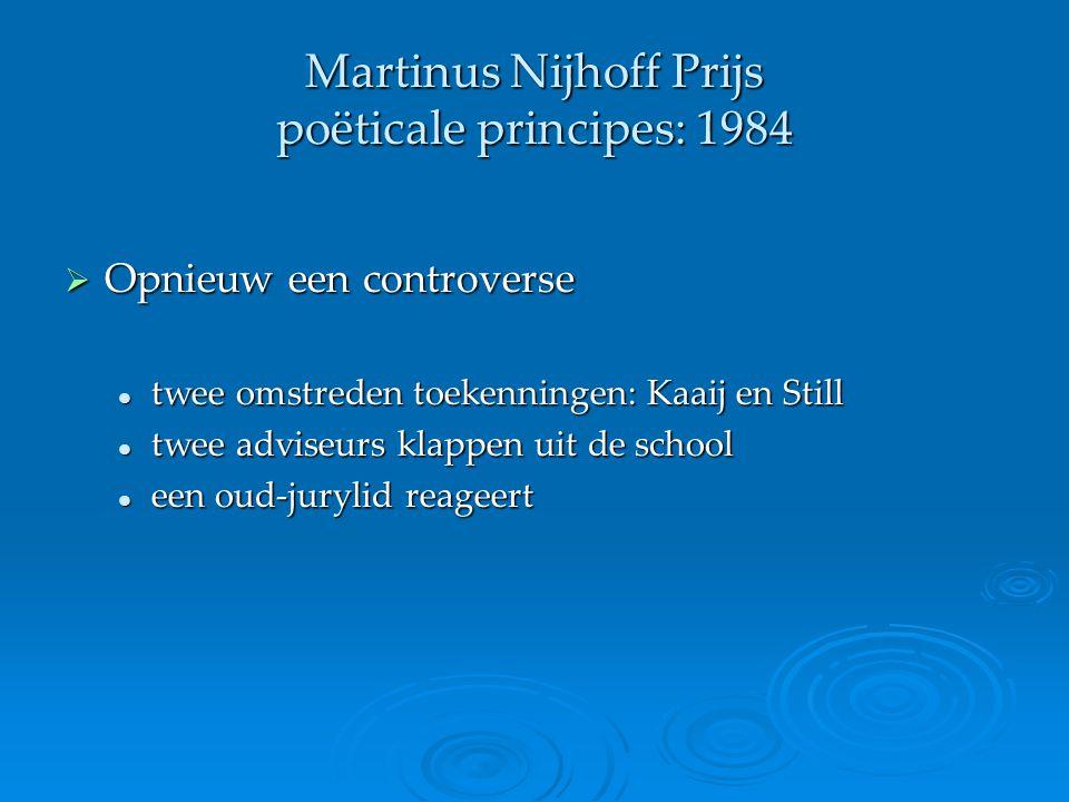 Martinus Nijhoff Prijs poëticale principes: 1984  Opnieuw een controverse twee omstreden toekenningen: Kaaij en Still twee omstreden toekenningen: Ka