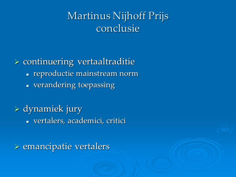 Martinus Nijhoff Prijs conclusie  continuering vertaaltraditie reproductie mainstream norm reproductie mainstream norm verandering toepassing verande