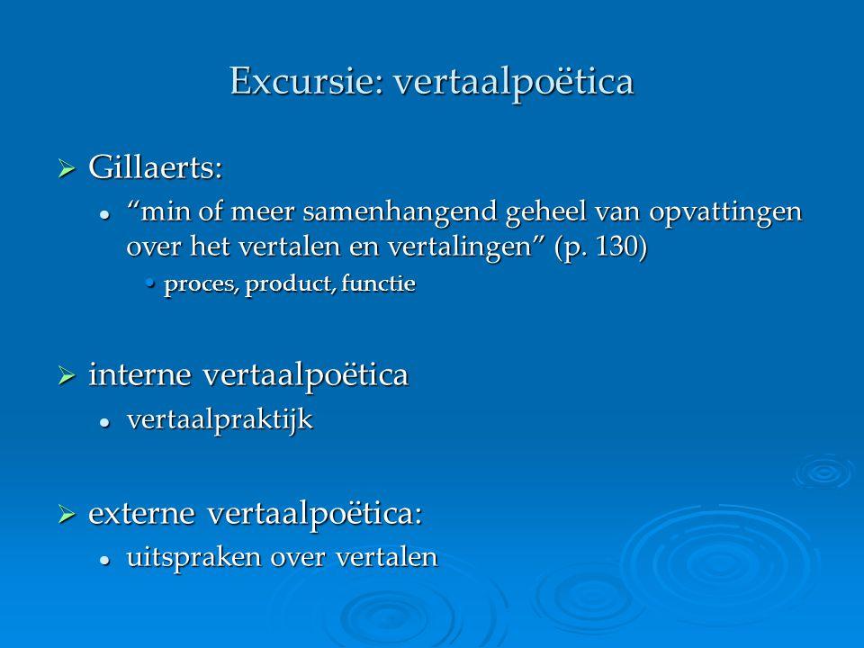 """Excursie: vertaalpoëtica  Gillaerts: """"min of meer samenhangend geheel van opvattingen over het vertalen en vertalingen"""" (p. 130) """"min of meer samenha"""