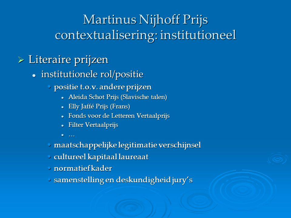 Martinus Nijhoff Prijs contextualisering: institutioneel  Literaire prijzen institutionele rol/positie institutionele rol/positie positie t.o.v. ande