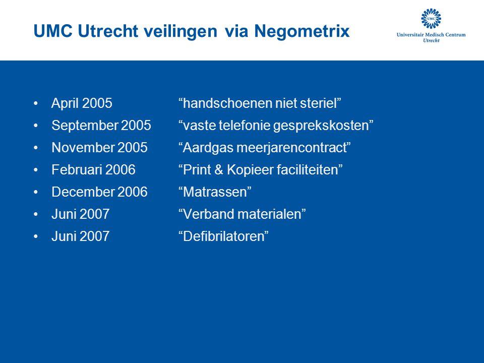 UMC Utrecht veilingen via Negometrix Juni 2008 Administratie diensten Juli 2009 Digitaliseren archieven Mei 2011 Multifunctionals Mei 2011 Centrale reprografische diensten Juli 2011 Briefpapier Juli 2011 Enveloppen