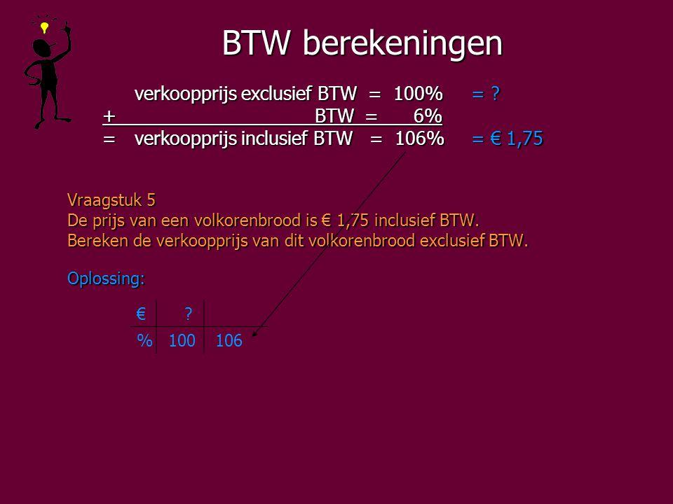 BTW berekeningen verkoopprijs exclusief BTW = 100%= .