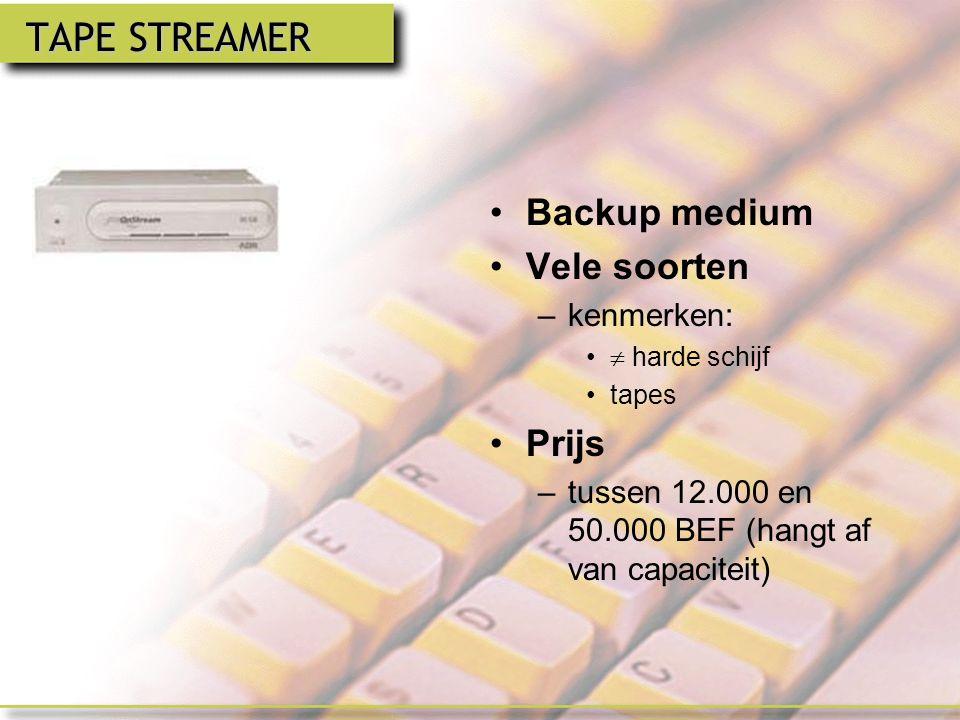 ZIP-DRIVE IOMEGA Capaciteit –250 MB Voordelen –goede kwaliteit –stabiliteit –lage prijs –gemak –back-up Nadelen –traag Prijs –hangt af van de capaciteit bv.