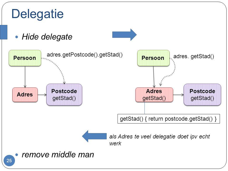 Delegatie Hide delegate remove middle man 25 Persoon Adres Postcode getStad() Postcode getStad() adres.getPostcode().getStad() Persoon Adres getStad() Adres getStad() Postcode getStad() Postcode getStad() adres.
