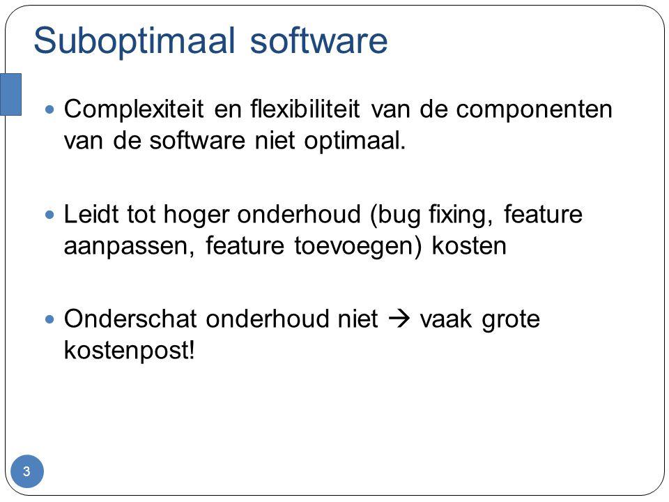 Suboptimaal software Complexiteit en flexibiliteit van de componenten van de software niet optimaal.