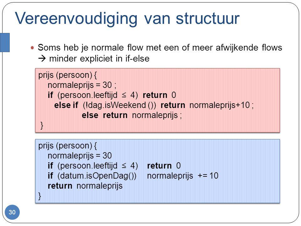 Vereenvoudiging van structuur Soms heb je normale flow met een of meer afwijkende flows  minder expliciet in if-else 30 prijs (persoon) { normaleprijs = 30 if (persoon.leeftijd ≤ 4) return 0 if (datum.isOpenDag()) normaleprijs += 10 return normaleprijs } prijs (persoon) { normaleprijs = 30 if (persoon.leeftijd ≤ 4) return 0 if (datum.isOpenDag()) normaleprijs += 10 return normaleprijs } prijs (persoon) { normaleprijs = 30 ; if (persoon.leeftijd ≤ 4) return 0 else if (!dag.isWeekend ()) return normaleprijs+10 ; else return normaleprijs ; } prijs (persoon) { normaleprijs = 30 ; if (persoon.leeftijd ≤ 4) return 0 else if (!dag.isWeekend ()) return normaleprijs+10 ; else return normaleprijs ; }