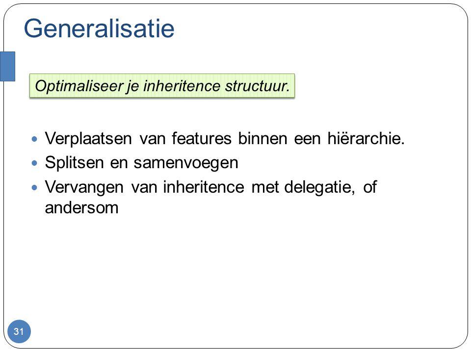 Generalisatie Verplaatsen van features binnen een hiërarchie.