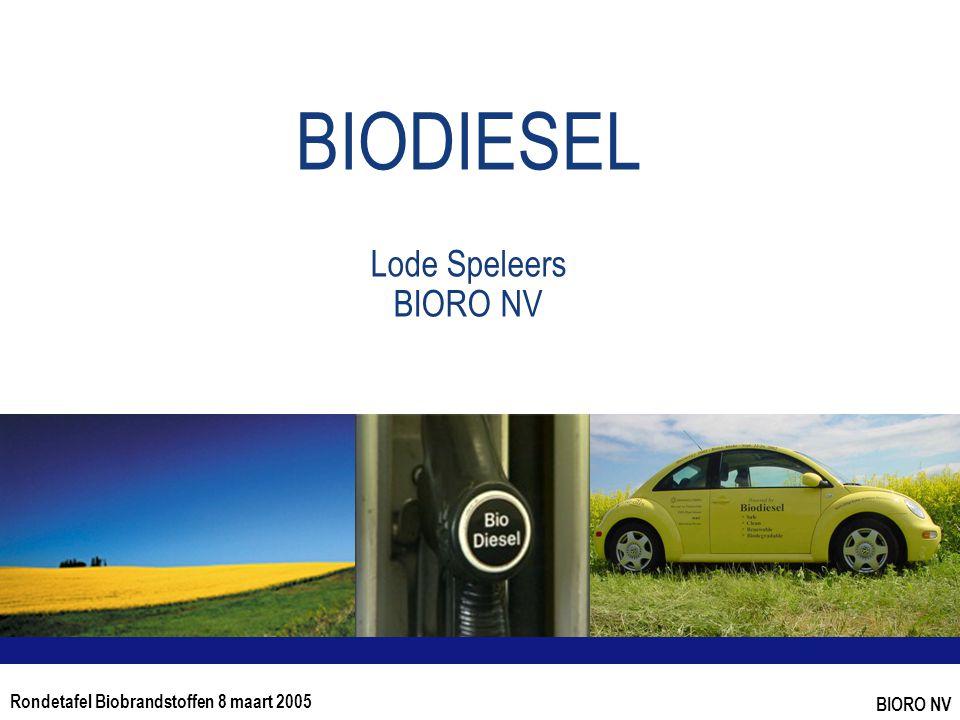 Rondetafel Biobrandstoffen 8 maart 2005 BIORO NV BIODIESEL Lode Speleers BIORO NV