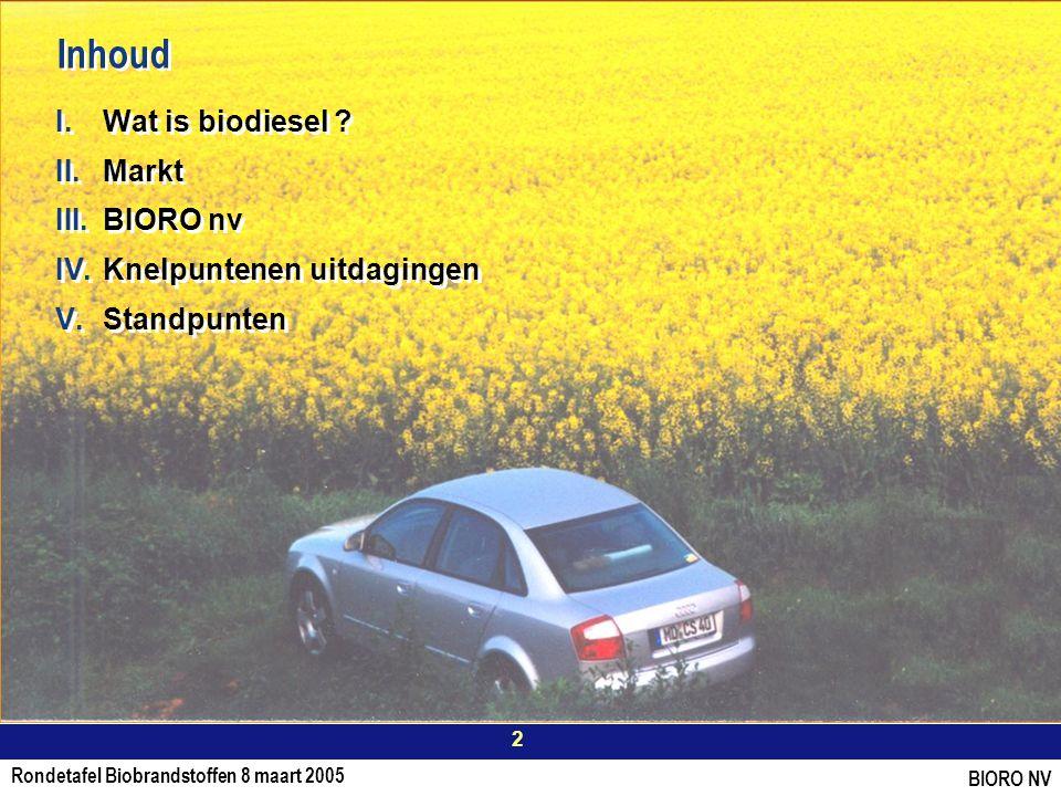 Rondetafel Biobrandstoffen 8 maart 2005 2 BIORO NV Inhoud I.Wat is biodiesel .