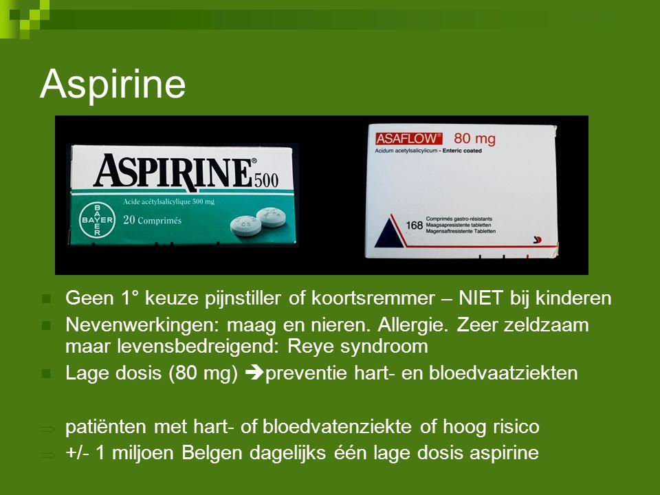 Aspirine Geen 1° keuze pijnstiller of koortsremmer – NIET bij kinderen Nevenwerkingen: maag en nieren. Allergie. Zeer zeldzaam maar levensbedreigend: