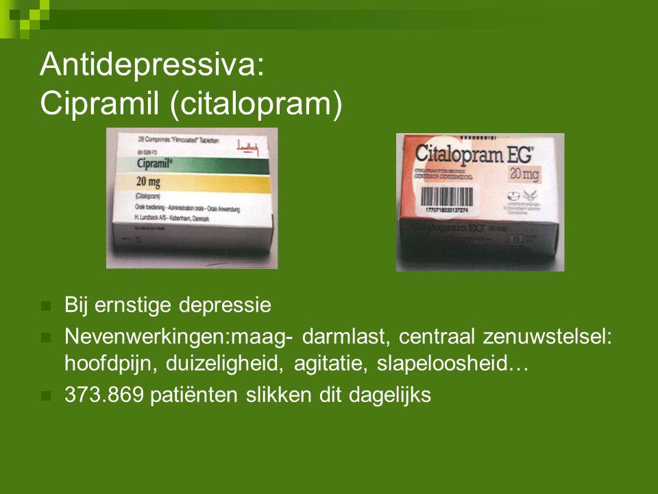 Antidepressiva: Cipramil (citalopram) Bij ernstige depressie Nevenwerkingen:maag- darmlast, centraal zenuwstelsel: hoofdpijn, duizeligheid, agitatie,