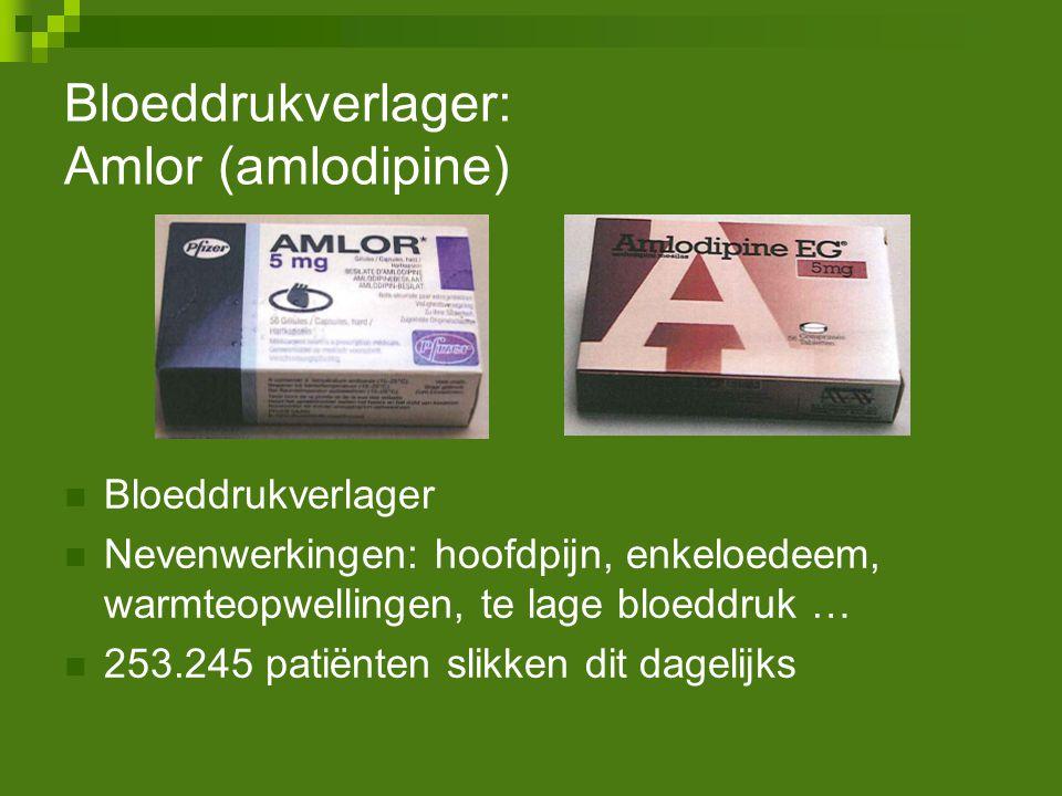 Bloeddrukverlager: Amlor (amlodipine) Bloeddrukverlager Nevenwerkingen: hoofdpijn, enkeloedeem, warmteopwellingen, te lage bloeddruk … 253.245 patiënt