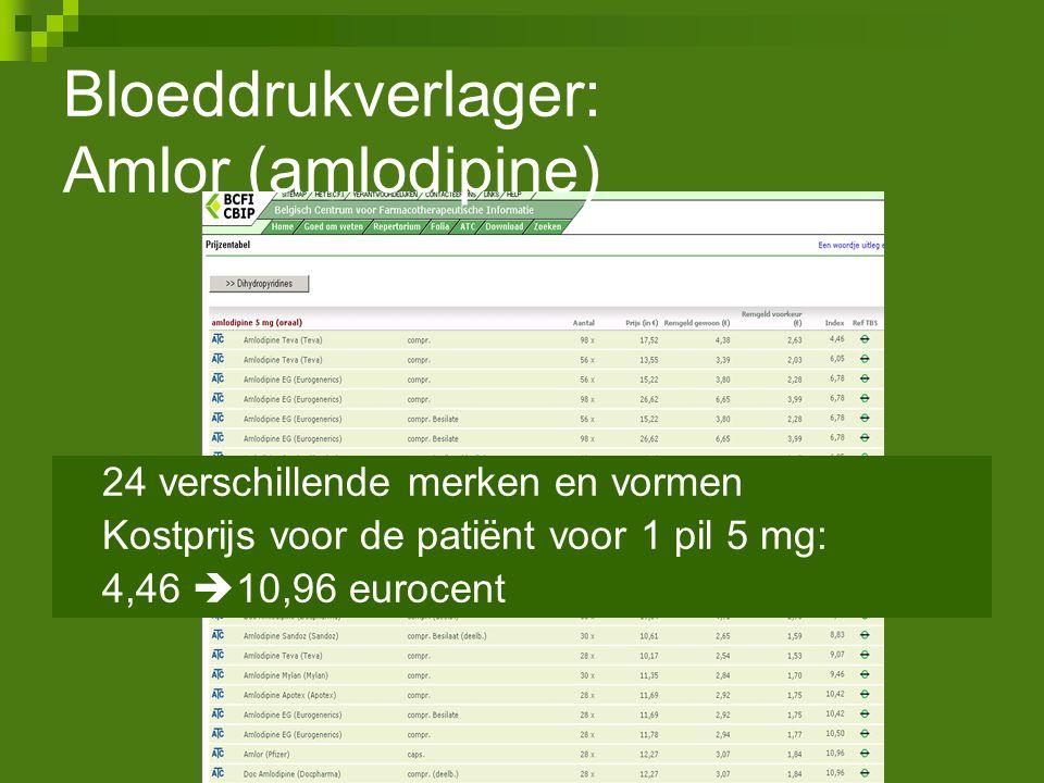 24 verschillende merken en vormen Kostprijs voor de patiënt voor 1 pil 5 mg: 4,46  10,96 eurocent Bloeddrukverlager: Amlor (amlodipine)